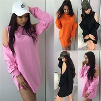 Wholesale fall turtleneck - Fall 2017 Fashion Women Sexy Hooded Sweatshirts Female Solid Color Casual Loose Cold Shoulder Long Pullover Top Club Wear