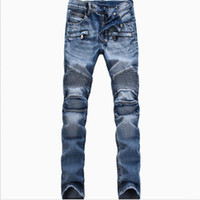 Wholesale men s jeans button - Wholesale-Men Fashion Brand Designer Ripped Biker Jeans man Distressed Moto Denim Joggers Washed Pleated motorcycle Jeans Pants Black Blue