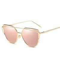 bayan güneş gözlüğü altın toptan satış-Kedi gözü Kadın Güneş Gözlüğü 2017 Yeni Marka Tasarım Ayna Düz Gül Altın Vintage Cateye Moda güneş gözlükleri lady Gözlük UV400