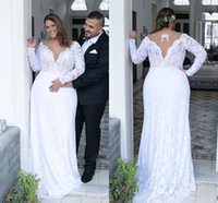 Wholesale Unique Brides - Beautiful Sexy Deep V neck White Lace Plus Size Wedding Dress Long Sleeves Unique Back Sheath Plus Size Dress For Bride 2017 ADPW004