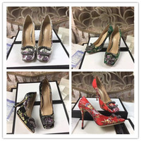 Wholesale stiletto heels wholesale - Top quality Women Elegant Stiletto Heel Dress shoes Genuine leather party Pumps Luxury Brand high heel Flowers wedding shoes Printed shoes