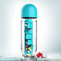 Wholesale Combine Daily Pill Box Organizer with Water Bottle Weekly Seven Compartments With Drinking Bottle Easy Carrying in ML Leak Proof Cup
