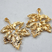 Wholesale 14k Gold Findings Wholesale - Wholesale- 15PCS Gold Tone Alloy Hollow Leaf Style Pendant Charm DIY Jewelry Making Finding 27*19*2mm 39729