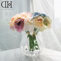 Wholesale Wedding Glass Vase Set - Dream House DH TZ126327 artificial orchid rose bouquet floral set 2pcs* orchid rose bouquet* 1 pcs glass vase home decoration