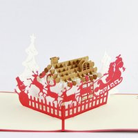 Wholesale Kirigami Ship - Wholesale- Deer and house Christmas card  3D kirigami card  handmade greeting cards gift for men Free shipping