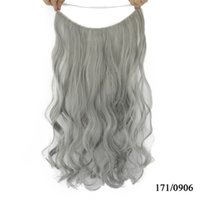 Wholesale heat resistant synthetic hair extension - 10 Color Long Curly Blonde Gray Synthetic Hair Heat Resistant Fiber Hairpieces Fish Line Halo Invisible Hair Extensions