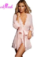Wholesale Women S Sheer Robes - New sexy see-through mesh women sleepwear with lacework sexy lingerie hot seductive Sheer Robe With Panty Underwear R80182