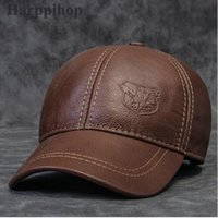 Wholesale Leather Baseball Caps For Men - Wholesale- 2017 new Genuine leather hat male first layer of cowhide autumn winter casual thermal the middle age baseball cap hat for man