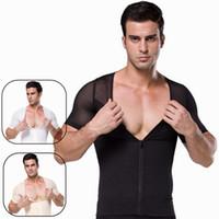 Wholesale Shaper Mens Undershirt - Mens Slimming Body Shaper Shirt With Zipper Mens Tights Undershirt Compression Base layer Abs Abdomen Slim Compression Tank Top