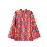 blusa mujeres pájaros al por mayor-Blusas rojas de Boho blusas con estampado floral de pájaros de otoño Vinatge o-cuello acampanado Manga larga playa de Bohemia vacaciones junto al mar blusas de mujer tops