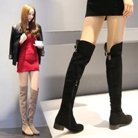 Wholesale Boots Scrub - Free shipping designer women winter black khaki thigh-high boots lady scrub leather shoes