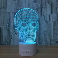 Wholesale Led Water Drop Speaker - 3D Skull LED Illusion Lamp Bluetooth Speaker with 5 RGB Lights TF Card Slot DC 5V USB Charging Wholesale Dropshipping