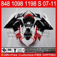 Bodywork For DUCATI 848 1098 1198 S 07 08 09 10 11 848R 1098R white black 75HM3 848S 1198R 1098S 1198S 2007 2008 2009 2010 2011 Fairing Kit