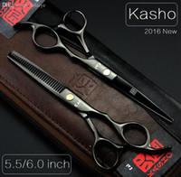 Wholesale Hairdressing Bags - Wholesale-Kasho 5.5 6 Professional hairdressing scissors hair cutting scissors barber shears thinning scissors for cutting hair 2pcs+bag