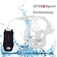 ingrosso auricolari per il nuoto-IPX8 Cuffie auricolari impermeabili 8G Lettore Mp3 Per Nuoto Surf Scuba Diving Tipo di usura Auricolare In-Ear Headset Trasporto di goccia all'ingrosso