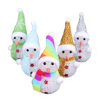 Wholesale crystal rose ornament - Crystal Snowman LED Light Luminous Toy Creative Christmas Gifts For Kids Home Children Room Ornament Props Colorful 324qt C R