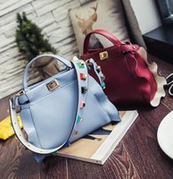 Wholesale Kitty Tote Bag - Factory outlet handbag summer new falbala Kitty bag personality trend leather handbag fashion color rivet falbala rivet single shoulder bag