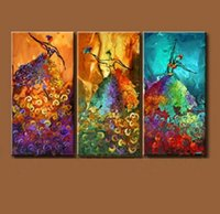Wholesale Dancing Pictured Canvas - Set of 3PCS Peacock Dance,genuine Hand Painted Contemporary Abstract Wall Decor Art Oil Painting. Multi customized sizes Framed Available