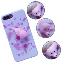 Éléphant Coques Iphone Rose Pas Cher-Tronsnic Soft Phone Case pour iPhone 6 6s plus 7 plus Cute Pink Elephant Toy Ice Cream Soft Cover Love Anti Pressure Squishy Girl