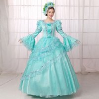 Wholesale Green Carnival Costumes For Sale - 2016 Hot Sale Blue Printed Medieval Renassiance 18th century Rococo Marie Antoinette Party Dresses For Women