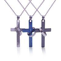 Wholesale Cross Verse - Wholesale-Fashion 3 Colors Cross Necklace Hot New Lettering Bible Verses Jesus Pray Cross Couple Tricolor Pendant Bead Chain Necklace