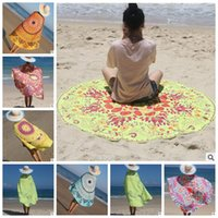 Wholesale Cloth Printing Designs - 54 Designs Round Beach Towel Totem Feather Printed Table Cloths Summer Beach Cover Up Shawl Blanket Polyester Beach Towel CCA5819 20pcs