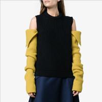 ingrosso spalla del rivestimento del rivestimento-2019 modelli autunno e inverno donne più giacca maglione di cachemire femminile Europa e Stati Uniti esposti spalla girocollo lungo