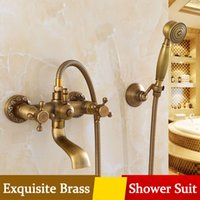Wholesale Wall Hung Telephone - Antique Bathroom Simple Shower Suit Round Rain Mixer Hand Shower Wall-hung Telephone type Archaistic Brass Low lead Shower Set Free shipping