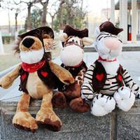 Wholesale Nici Animal Series - 2017 New 25cm Germany Nici Cowboy Series Plush Doll Animal Toy Tiger Lion Giraffe Birthday Christmas Presents 1pcs Free Shipping