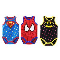 Wholesale Romper Spiderman - Baby Boys Girls Romper Sleeveless Rompers Baby Jumpsuit Superman Spiderman Batman Romper Cosplay Costume
