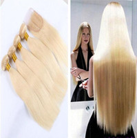 Wholesale Blonde Lace Top Closure - 8A Cheap #613 blonde brazilian Virgin Remy silky Straight hair Human Hair bundles with top lace closure 3bundles with closure free shipping