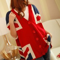 Wholesale British Flag Sweaters Women - Wholesale- Spring and autumn 2016 winter new British Union Jack flag large size bat sweater cardigan long bat sleeves ladies sweater coat
