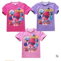 Wholesale Top Gifts For Christmas Kids - Kids Trolls T-shirts Summer Girls CottonTees Casual Top The Good Luck Trolls Shirt for Trolls Costumes Christmas Gifts