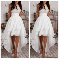 Wholesale Beaded High Low Homecoming Dress - White Halter A Line High Low Prom Dresses Chiffon Tiered Women Homecoming Dress Cheap Lace Top