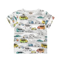Wholesale Wholesale Girls Tee Shirts - Kids T-shirt Cartoon Cars Girls Boys Shirts Summer Tops Tees Multi-color Printed O-neck Cotton T-shirts 2-10T