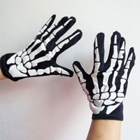 Wholesale Skeleton Full Finger Gloves - Halloween Skull Bone Glove Skeleton Goth Glove Full Finger Gloves Ghost Claw Gloves Party Costumes Horror Devil Gloves OOA2898