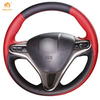 Wholesale Leather Wheel Covers For Cars - Mewant Black Red Leather Car Steering Wheel Cover for Honda Civic Old Civic 2006-2011
