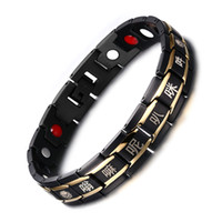 aimant en germanium achat en gros de-Acier au titane Plaqué Or 18K Aimants puissants Bracelet de thérapie magnétique au germanium 8.7 '' Thérapie Bracelet Bijoux B866S