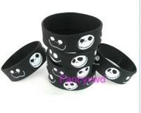 череп силиконовый браслет оптовых-50x череп Рождество логотип браслет силиконовые браслеты черный
