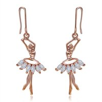 Wholesale Gold Ballerina - Dancing Ballerina Fashionable Earrings - Fish Hook - Sparkling Crystal Metal Cooper Plated Gold Hook Earring- Unique Gift and Souvenir
