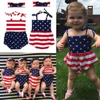 Wholesale Flag Romper - 2017 INS Newborn Baby Romper & Headband 2 pcs Summer Toddler Clothes Set Body clothes Infant Jumpsuit American flag cotton striped Outfit