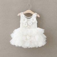 Wholesale White Lace Flower Appliques Wholesale - 2017 New Girls Applique Flowers Crystal White Dress Baby Princess Ruffles Lace Tutu Mesh Dress Wholesale 5pcs lot