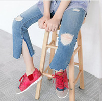Wholesale Wholesale Boot Cut Jeans - Baby Clothing Kids Girls Denim Jeans Baby Girls Fashion Flare Pants Girls Autumn Casual trouser 2017 Children Clothing