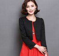Wholesale Korean Style Ladies Blazer - Vintage Style Lady Fashion Short Blazers big Size M-2XL 2017 New Autumn Korean Trendy Solid Color Woman Casual Clothings