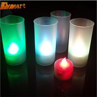 Wholesale Electronic Candle Light Sensor - Wholesale- Voice Control Motion Sensor 7-color Led Color Change Night Light Luminaria Electronic Color Change Flicker Nightlight Children's