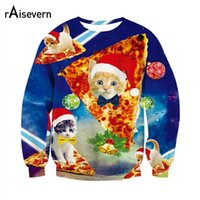 Wholesale cat top hat - Wholesale- Raisevern Fashion Sweatshirt 3D Print Christmas Hoodie Cute Kitten Sloth Grumpy Cat With Christmas Hat Outerwear Tops Dropship