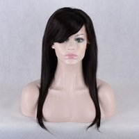 Wholesale brazilian lace wigs side bangs online - human hair wigs short length with baby hair lace front wigs side bangs full lace wigs for black women