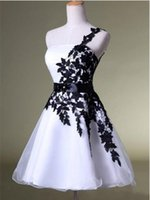 Wholesale Graduation Dresses For College - 2017 Cheap Short Homecoming Dresses White and Black One Shoulder Lace Belt Beaded Tulle Gowns for College Graduation Dress