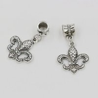 Wholesale Fleur Lis Silver Pendant - Hot Sales ! 100pcs Antique Silver Zinc Alloy Fleur De Lis Dangle Charms Pendants DIY Making 31.5 x 18mm