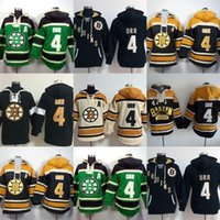 Wholesale Boston Sales - Hot Sale Mens Boston Bruins 4 Bobby Orr Green Black Yellow Beige Best Quality Cheap 100% Embroidery Logo Ice Hockey Hoodies Size S-3XL